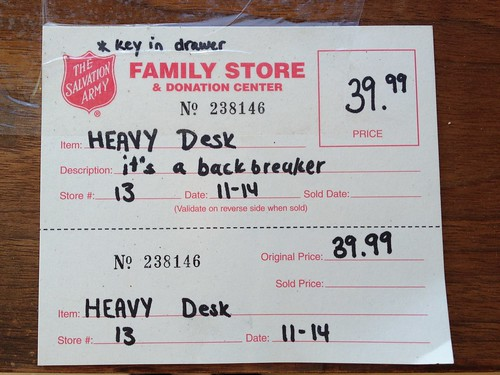 The Salvation Army Family Store and Donation Center - $39.99 Item: HEAVY Desk Description: It's a backbreaker