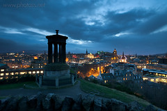 Observatory (S l a w e k) Tags: uk longexposure blue autumn light reflection night landscape evening scotland edinburgh cityscape wind dusk illumination windy illuminated reflected observatory gusty oldtown caltonhill