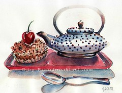 Pierre Herme Tarte Cerise 12.11 (Paris Breakfast) Tags: paris watercolor pastry