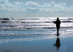 avalon, nj fishing (Jen MacNeill) Tags: ocean blue fish fall beach silhouette coast newjersey fishing fisherman surf waves east cast shore rod capemay casting avalon eastcoast reel macneill gypsymarestudios jennifermacneilltraylor