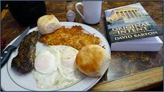 "Steak and Eggs, with ""intent"". (Blackhorse17) Tags: breakfast book sausage biscuit steak eggs hashbrowns originalintent"