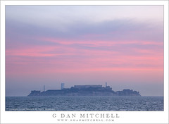 Alcatraz Island, Dawn Sky (G Dan Mitchell) Tags: california park morning travel pink light red sky usa building nature water rock fog clouds america sunrise landscape island dawn bay haze san francisco soft december north stock scenic atmosphere surface prison national jail alcatraz thin penitiary