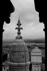 Paris, je t'aime - taken from the dome of Sacre Coeur (Eachan J) Tags: sky blackandwhite bw paris france church monochrome architecture landscape view cathedral pillar sacrecoeur spire framing nikond3100