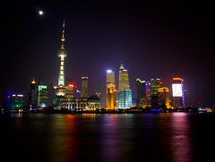 This is Shanghai (meltedcheese) Tags: china longexposure light moon colour reflection tourism water fog skyline skyscraper buildings river lights asia neon shanghai tripod chinese financialdistrict highrise electricity capitalism bund thebund huangpu orientalpearltower