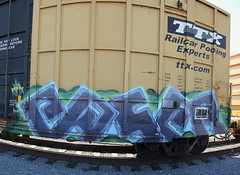 PASER (KNOWLEDGE IS KING_) Tags: color art yard train bench one graffiti paint panel steel painted tracks railway socal crew burner bomb railfan freight laws fill mfk in ttx stitchedpanorama paser fbox