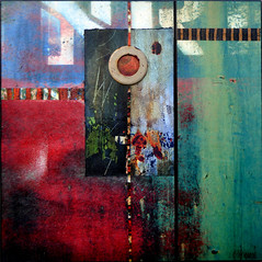No Regrets (LuAnn.Ostergaard) Tags: blue red abstract green collage metal modern entropy rust diptych colorful contemporary wallart ostergaard