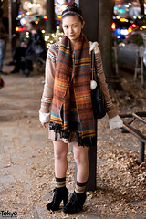 Knit & More Knit in Harajuku (tokyofashion) Tags: girl fashion socks japan night scarf japanese tokyo dress knit harajuku booties hairband streetfashion 2011