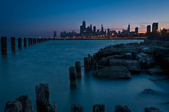 Chicago Skyline From Fullerton Beach (rseidel3) Tags: city sunset chicago beach water skyline night buildings illinois nikon skyscrapers sears searstower hancock hdr willis d5000