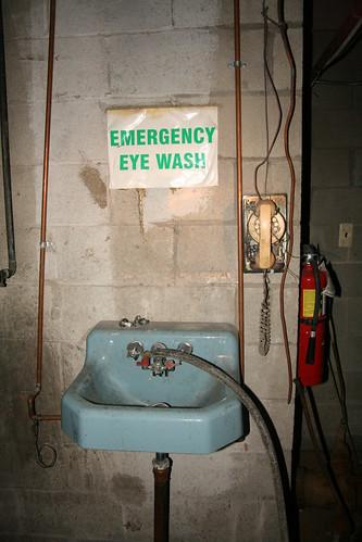 Emergency eye wash station in the boiler room