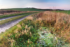 Track to the hills (2) (Billy Clapham) Tags: morning winter panorama cold film ice nature sunrise landscape dawn exposure frost track fuji village slow farm wildlife lincolnshire hills filter finepix fields billy fujifilm clapham circular cpl graduated density s200 wolds polariser nuetral exr utterby s200exr
