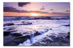 Over The Falls - Dawn 2012 ([ Kane ]) Tags: ocean light sun seascape water sunrise landscape photography dawn waterfall waves purple australia noosa rays kane sunshinecoast gledhill pointcartwright canon5dmkii kanegledhillphotography jan1st2012