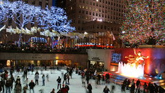Christmas at Rockefeller Center (MarcelGermain) Tags: christmas street new york city longexposure travel trees winter usa holiday ny tree ice fountain geotagged photography lights movement nikon manhattan iceskating skating center skaters american rink rockefeller d80 lowerplaza marcelgermain