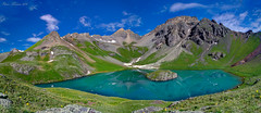 Island Lake Panorama. (Steve Flowers) Tags: colorado silverton backpacking islandlake icelakebasin
