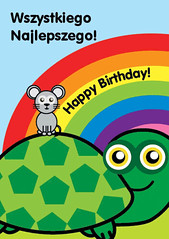 Icklelingo Birthday card Polish (tortoise) (Icklelingo) Tags: card englishpolish icklelingo