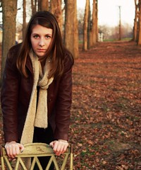 Intense Stare (Jecart22) Tags: autumn trees woman fall girl scarf outdoors emily chair indiana brunette