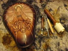 "Leather Craft - ""No Virgin"" (Marius Mellebye / 276ccm) Tags: leather artwork chopper mail handmade oneofakind no seat virgin solo custom virginmary oldskool tandy leatherwork bobber mariusmellebye leathercraft 276ccm barrykingtools craftools"
