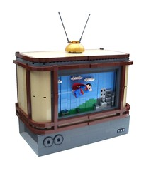 Superman TV (2 Much Caffeine) Tags: flying tv lego superman superheroes moc scrollingbackground scrollingbackdrop