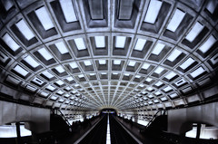 Washington,D.C. Metro [Perfect Symmetry] [Explored] (Yohsuke_NIKON_Japan) Tags: usa white art station dark underground subway dc nikon metro railway symmetry fisheye tokina eki dcmetro wmata     federaltriangle   dc washigtondc  explored colorefex d300s stateoftheuniondc