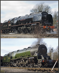 (4)6233 1947 and 1957  liveries together (roderick smith) Tags: pacific derbyshire ripley canarywharf britishrail mrc swanwick steamlocomotive lms 462 butterley duchessofsutherland 6233 coronationclass stanier midlandrailwaycentre londonmidlandscottish 46233 prclt princessroyalclasslocomotivetrust