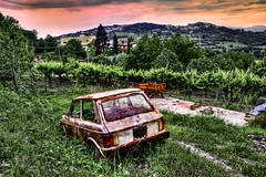 Sunset of things (Photos On The Road) Tags: auto old trees sunset sky italy tree green abandoned field grass car horizontal alberi rural landscape outside outdoors evening vineyard rust automobile europa europe italia campania outdoor hill neglected rusty nobody nopeople hills textures southern vineyards rusted transportation campo vehicle rusting aged wreck macchina paesaggio colline sera luoghi nessuno rottame candida outdoorshots avellino vigna meridionale elaborazioni trasporto rurale vigneti orizzontale irpinia outdoorshot sanpotitoultra dpsabandoned