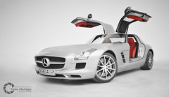 Mercedes-Benz SLS AMG | Fly Dreams! [Explored] (Tareq Abuhajjaj | Photography & Design) Tags: light red moon white black car sport night race speed photography lights design fly photo