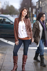 0709.2 Brown Leather Jacket with Mandarin Collar and (eyepiphany) Tags: streetphotography portlandoregon winterfashion stumptown streetfashion beautifulsmile streetfashionphotography stumptownfashion portlandcasual portlandcazl portlandfashion365daysayear portlandfashiontrends fashionablelayers girlwiththefarawayeyes brownleatherjacketwithmandarincollarandmatchingplatformridingboots whiteveeneckbuttonplacketedshirtoverrustorangescoopneckcardigan levisandboots