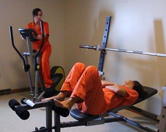 jail gym (Inmate_Stripes) Tags: orange woman female women prison jail gym prisoners inmates