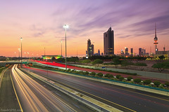 CitySunset - Kuwait (A.alFoudry) Tags: street city longexposure pink winter light sunset red bw building tower cars lines yellow clouds canon eos lights long exposure cityscape slow purple dusk mark line full filter 09 lee frame slowshutter shutter 5d kuwait usm fullframe canonef2470mmf28lusm ef kuwaiti cpl q8 abdullah mark2 2470mm   || f28l kuw q80 q8city xnuzha alfoudry  abdullahalfoudry foudryphotocom mark|| 5d|| canoneos5d|| mk|| canoneos5dmark|| foudryphcom