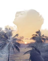Breathe Me (Love Kimiko) Tags: sunset portrait photoshop hawaii doubleexposure palmtrees honolulu breatheme