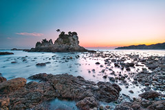 Sunset at Minokakeiwa (-TommyTsutsui- [nextBlessing]) Tags: longexposure blue winter light sunset sea sky orange seascape beach nature yellow rock japan landscape nikon purple dusk magic tide scenic wave shore      islet izu   ndfilter minokakeiwa minamiizu sigma1020   onsalegettyimages