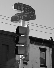 On The Ridge (phillytrax) Tags: city urban blackandwhite bw usa philadelphia monochrome america trafficlight blackwhite unitedstates pennsylvania streetsign pa philly grayscale northphiladelphia northphilly cityofbrotherlylove strawberrymansion