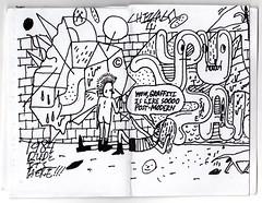 Page spread from a mini zine by The Viking, Chicago (fotoflow / Oscar Arriola) Tags: chicago zine self magazine one graffiti book design diy illinois midwest published postmodern cartoon mini il page viking publishing zines the theviking photocopied minizine