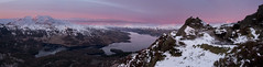 (alancowper) Tags: morning panorama snow sunrise walking landscape scotland ben hill olympus panasonic summit venue stitched trossachs aan gloaming gh2 918mm