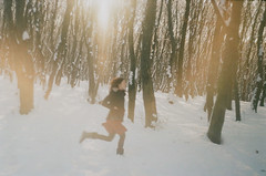 I left the world I was running (whimsical jane) Tags: trees winter red white snow girl forest running filmphotography zenite