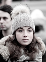 On A Cold Winter Day (Candid Street Portrait Photography) (Loc BROHARD) Tags: street winter portrait woman girl beautiful face hat photography candid streetphotography