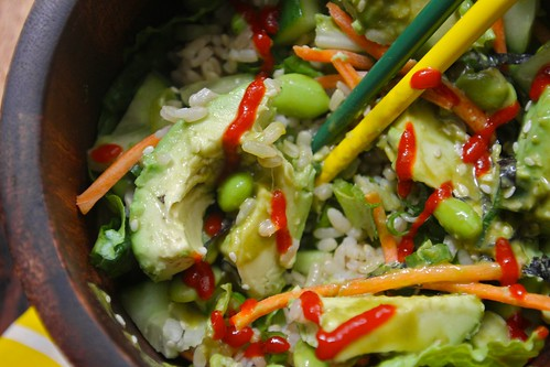 sushi roll edamame salad