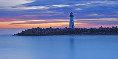 Walton Lighthouse, Santa Cruz, CA (M. Shaw) Tags: ocean california longexposure sunset sea santacruz sun lighthouse reflection history night clouds canon cloudy historic bluehour californiacoast ndfilter cloudynight 2470mmf28l mshaw 5dmark2 canoneos5dmarkll 2x1crop