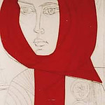 "<b>The Red Shawl</b><br/> Irving Amen (1918-) ""The Red Shawl"" Engraving, Drypoint, Relief, 1966 LFAC #655<a href=""http://farm8.static.flickr.com/7002/6852262985_1fe2453ee0_o.jpg"" title=""High res"">∝</a>"