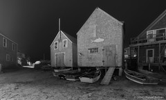 Fishing Shacks at Night, Monhegan (JMichaelSullivan) Tags: bw night 100v mono nikon maine 10f 600v dxo 200v monhegan 500v d800 700v 300v 5f mjsfoto1956 1000v 400v 900v 800v 2013 autopanopro 18x30 opticspro