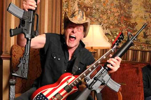 From flickr.com: Ted Nugent loves guns.  So do mass shooters. {MID-133606}