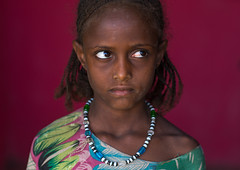 Portrait of an afar tribe girl on a red background, Afar region, Semera, Ethiopia (Eric Lafforgue) Tags: africa girls portrait people haircut color girl childhood horizontal outdoors photography necklace child african muslim islam tribal shawl ethiopia tribe beautifulpeople oneperson braid lookingaway braided traditionalculture hornofafrica ethiopian afar eastafrica redbackground abyssinia braidedhair traditionalclothing greatriftvalley samera danakil africanethnicity 1people asayta indigenousculture onegirlonly afarregion africantribe nomadicpeople onechildonly assaita asaita semera assayta africantribalculture ethio162290