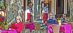 nice day (albyn.davis) Tags: people restaurant colors colorful sun light sunlight shadows tables outdoor waiters aprons red purple bright vivid vibrant color relaxing tourists vacation travel panorama