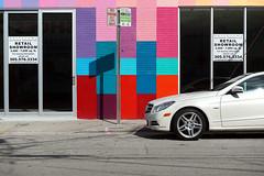 Miami, FL (otro_mun2) Tags: street windows light urban color car sign mercedes benz calle shadows forsale florida miami coche urbano mundane dade wynnwood