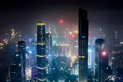 The Future Is Bleak (Tim van Zundert) Tags: guangzhou china city light tower skyline architecture night contrast skyscraper dark square landscape four lights evening tv haze long exposure cityscape seasons view sony 55mm pollution guangdong ifc height canton tianhe k11 huacheng a7r sel55f18z