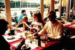 Luxembourg   -   Luxembourg City   -   Restaurant La Terrasse   -   John, Jessica & Jeb   -   September 1989 (Ladycliff) Tags: luxembourg luxembourgcity john jessica jeb