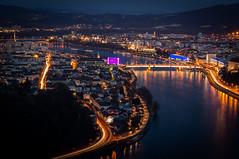 The light-veins of urbanity (Robert Bauernhansl) Tags: city houses light night linz bride town nacht citylights stadt brcke lichter huser linien