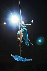 Aerial straps with umbrella. Aerialist Diana Semisynova (Jul Chitay) Tags: blue woman sport umbrella dark dance high dress circus arts skirt aerial spotlight cirque straps aerials flexibility aerialist aerialarts aerialstraps