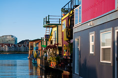 Row of Floating Houses (BohemianDolls) Tags: summer canada harbor afternoon bc waterfront britishcolumbia august victoria vancouverisland floatinghouses
