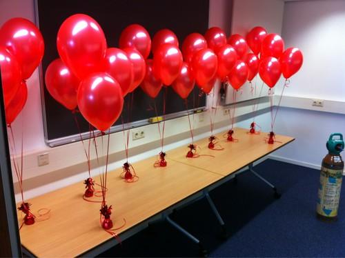 Tafeldecoratie 3ballonnen Rood Erasmus Universiteit Rotterdam