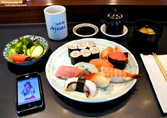 Sushi2 (alvinkclee) Tags: green sushi soup miso salad tea wasabi